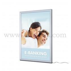 Cadre d'affichage LED d'intérieur simple face. Profil 30mm. Disponible en plusieurs formats