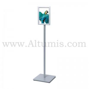 Porte affiche sur pied A4/A3 STANDARD. Profil aluminium anodisé. Porte affiche simple ou double face. Altumis