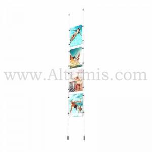 Colonne porte-affiche A4 Vertical / Kit câble Sol-Plafond - Altumis