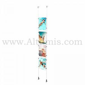 Colonne porte-affiche A4 Vertical / Kit câble suspendu Mural - Altumis