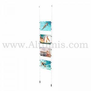 Colonne porte-affiche A4 Horizontal / Kit câble suspendu Sol-Plafond - Altumis