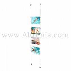 Colonne porte-affiche A4 Horizontal / Kit câble suspendu Mural - Altumis