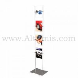 Totem d'affichage sur tige Inox 10 mm avec porte-affiche vertical. Agencement de concession automobile. Altumis