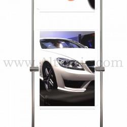 Totem d'affichage sur tige Inox 10 mm avec porte-affiche vertical en 3mm. Altumis