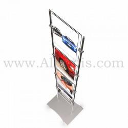 Totem d'affichage sur tige Inox 10 mm avec porte-affiche vertical avec platine. Altumis