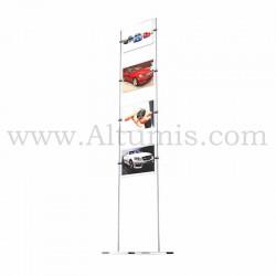 Totem d'affichage sur tige avec porte-affiche A4 Horizontal pour concession automobile. Altumis