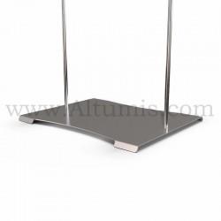Totem porte-affiche mixte en plexiglas 3 mm sur tige Inox Ø 10 mm avec platine. Altumis