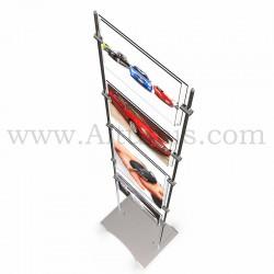 Totem porte-affiche mixte en plexiglas 3 mm sur tige Inox Ø 10 mm pour salle d'accueil . Altumis