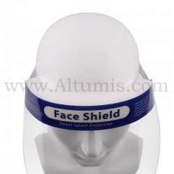 Face shield. It is anti-fog treated, latex and fiberglass free. Increases level of protection front and peripheral. Altumis