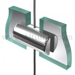 Support double panneau6 mm sur câble