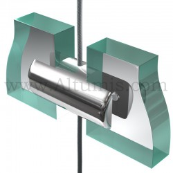 Support double panneau 10 mm sur câble