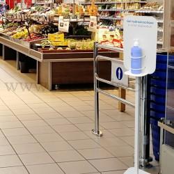 Totem Distributeur gel hydroalcoolique. Il permet au public de se désinfecter les mains en toute sécurité. Altumis