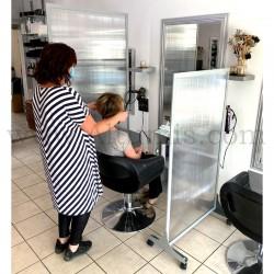 Cloison de protection en polycarbonate Autoportant. Solution économique pour séparer une pièce. Salon de coiffure 2. Altumis