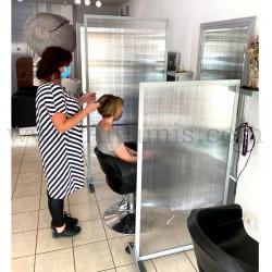 Cloison de protection en polycarbonate Autoportant. Solution économique pour séparer une pièce. Salon de coiffure 3. Altumis