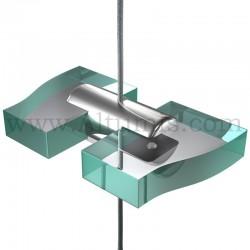 Support double tablette jusqu'à 10 mm sur câble Ø 1,5 mm