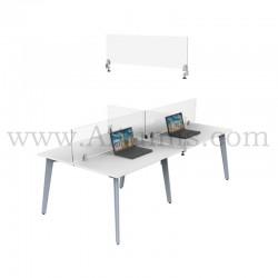 Pince de table pour panneau. Bride marqueterie pour fixer une protection en plexiglas dans les bureaux.