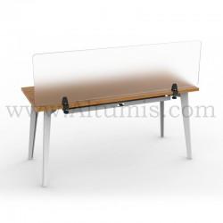 Pince de table pour panneau. Pince supérieure réversible à 90°. Protection en plexiglas pour bureau