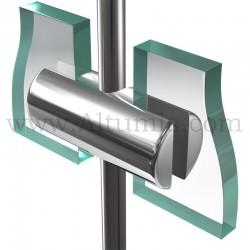 Support double panneau6 mm pour tige 6 mm