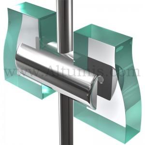 Support double panneau 10 mm pour tige 6 mm